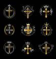 crosses religious emblems set heraldic coat of vector image vector image