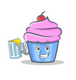 cupcake character cartoon style with juice vector image vector image