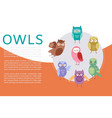 cute cartoon owls banner vector image