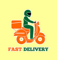 delivery man riding a scooter fast delivery logo vector image vector image