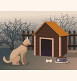 dog sitting next to the kennel in the yard vector image