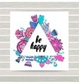 Floral card in triangles frame vector image vector image