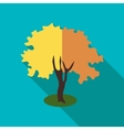 Fluffy autumn tree icon flat style vector image vector image