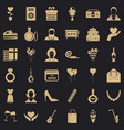 fun party icons set simple style vector image vector image