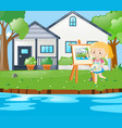 girl painting house on canvas vector image