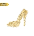 Gold glitter icon of right shoe isolated on vector image vector image