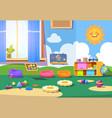 kindergarten room empty playschool room with toys vector image vector image