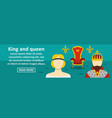 king and queen banner horizontal concept vector image vector image