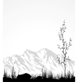Landscape with mountains glass and tree vector