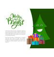 merry bright christmas postcard green xmas tree vector image vector image