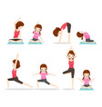 mother and daughter doing yoga exercise vector image