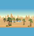 oasis in desert landscape background for cartoon vector image