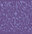 pattern with wild flowers fern leaves lavender vector image vector image