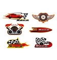 racing cars speedometer and flag motor sport vector image vector image