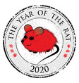 Rat mouse chinese horoscope animal sign The stamp vector image vector image