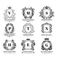 royal shields badges vintage ornament luxury logo vector image