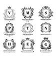 royal shields badges vintage ornament luxury logo vector image