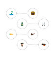 set corsair icons flat style symbols with rum vector image vector image