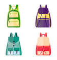 set of colorful backpacks vector image vector image