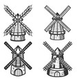 set of the windmills icons on white background vector image vector image