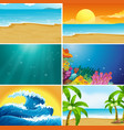 set summer beach landscape vector image