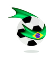 Soccer Ball with Brazilian Flag of Brazil 2014 vector image vector image