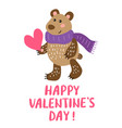 valentine s day greeting card with bear vector image