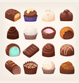 wide selection chocolate sweets various form vector image vector image