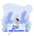 woman sitting bench nature background vector image