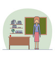 woman teacher on classroom with wooden shelf with vector image