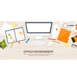 Workplace with table and computer Computer vector image vector image
