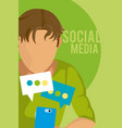 young man using smartphone vector image vector image