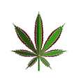 Green cannabis leaf cut out of paper stylized vector image