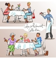 People at cafe and restaurant Colorful version vector image