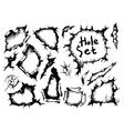 sketch holes set vector image