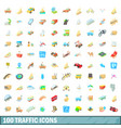 100 traffic icons set cartoon style vector image vector image