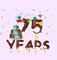 75 years happy birthday card vector image
