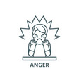 anger line icon anger outline sign vector image vector image