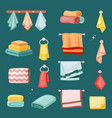bath towels and kitchen set textile colored vector image vector image