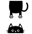 black cat funny face head silhouette looking up