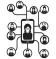 Black smartphone people network background