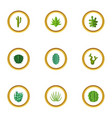 cactus plant icons set cartoon style vector image vector image