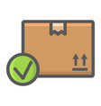 carton box with check mark filled outline icon vector image vector image