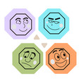 cartoon style emoji set happy sad grinning vector image