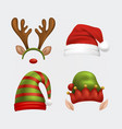 christmas various hat collection set vector image vector image