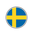 circle sweden flag with icon isolated on white vector image vector image
