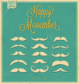 Collection of Mustache Retro Design vector image vector image