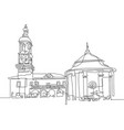 continuous one line drawing of town hall and vector image