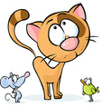 Cute animal - cat mouse and bird cartoon vector image vector image