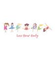 dancing body positive women banner vector image vector image